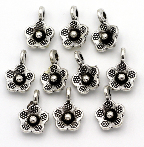 9x14mm Tribal-Style Flower Drops, Antique Silver