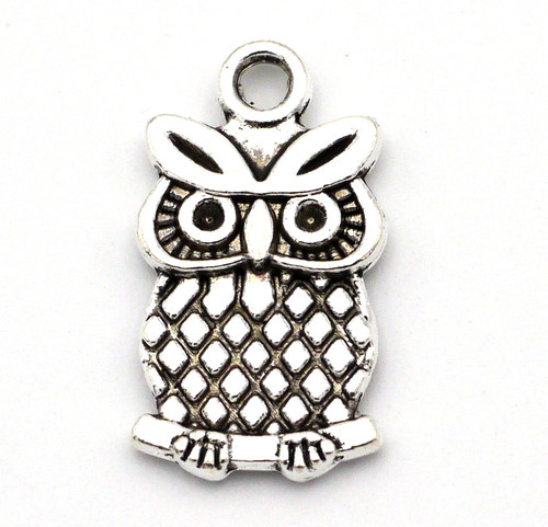 20mm Owl Charm, Antique Silver