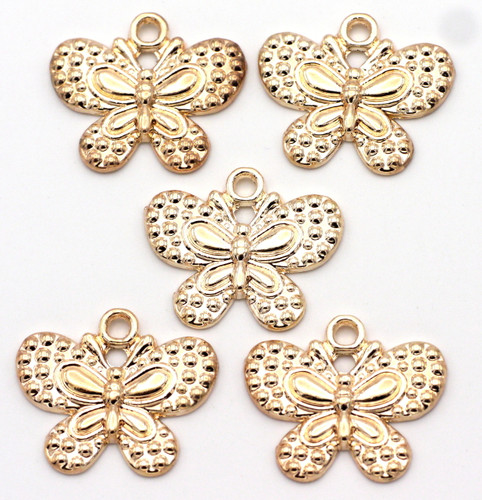 5pc 21x25mm Butterfly Charms, Rose Gold Plated