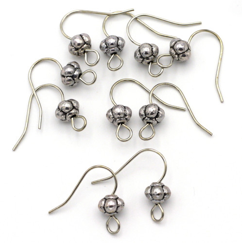 10pc 18x16mm Embellished Earwires w/6.5x5mm Melon Accents, Antique Silver