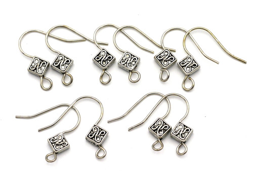 10pc 18x16mm Embellished Earwires w/6mm Diamond-Shape Accents, Antique Silver