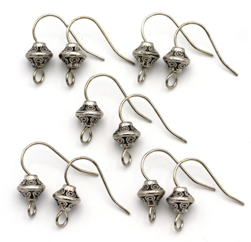10pc 18x16mm Embellished Earwires w/7mm Bicone Accents, Antique Silver