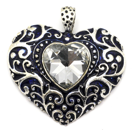 60mm Enameled Heart Pendant w/Cut Glass Crystal, Antique Silver