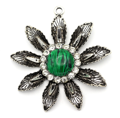 63x58mm Flower Pendant w/Rhinestones & Resin, Antique Silver