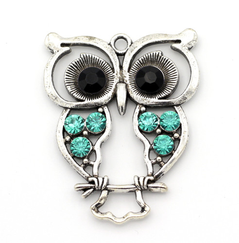 59x45mm Owl Pendant w/Rhinestones, Antique Silver
