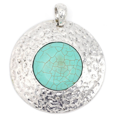 60mm Hammered Round Pendant w/Faux Turquoise, Antique Silver
