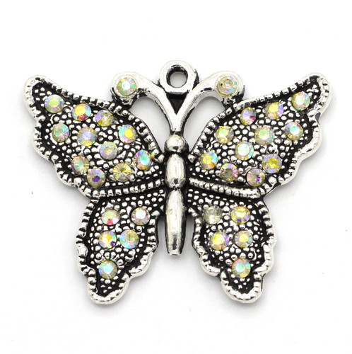 27x33mm Butterfly AB Rhinestone Pendant, Antique Silver