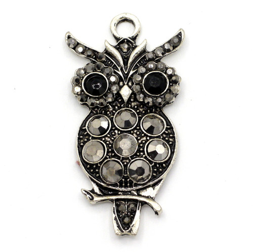 45.5mm Owl Rhinestone Pendant, Antique Silver