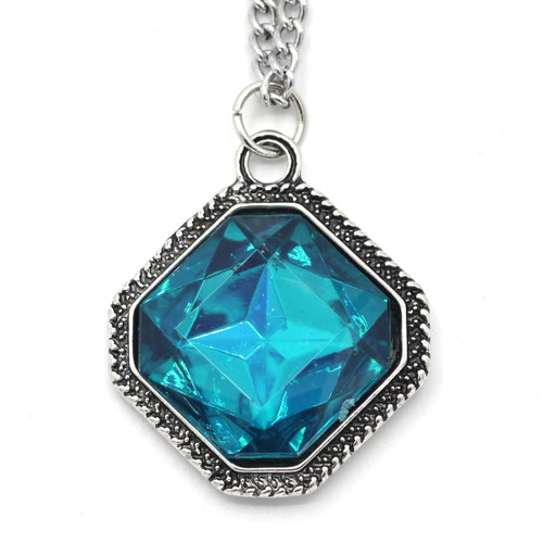 "Teal Resin Diamond Pendant w/20"" Chain, Antique Silvertone"