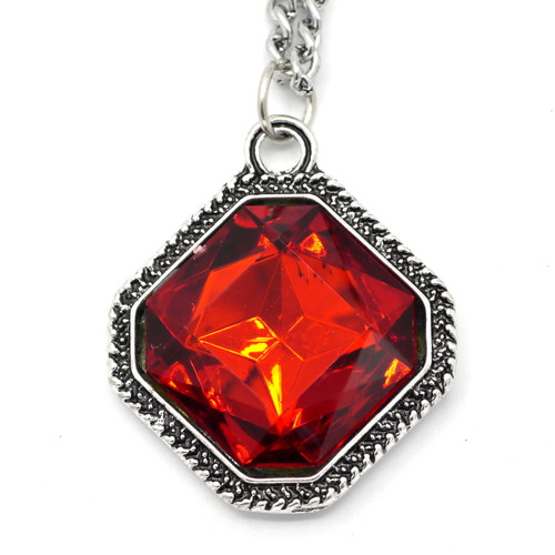 "Red Resin Diamond Pendant w/20"" Chain, Antique Silvertone"