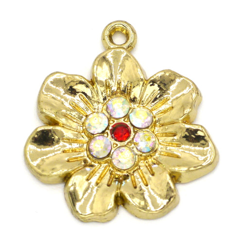 26mm Rhinestone Flower Pendant, Gold Finish
