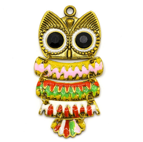 71mm Enameled Articulated Owl Pendant, Antique Gold