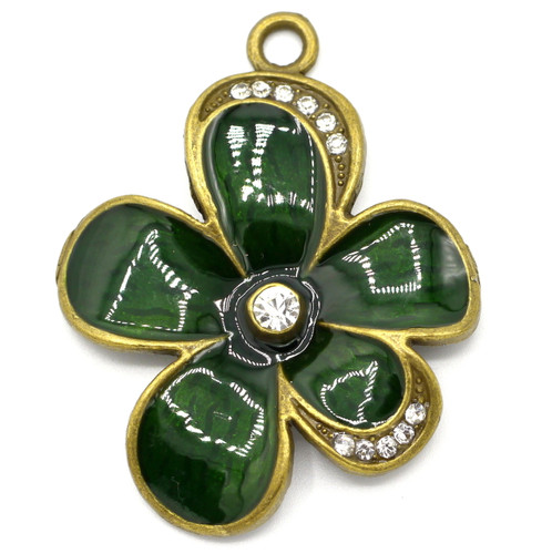 53mm Enameled Flower Pendant w/Rhinestones, Antique Bronze