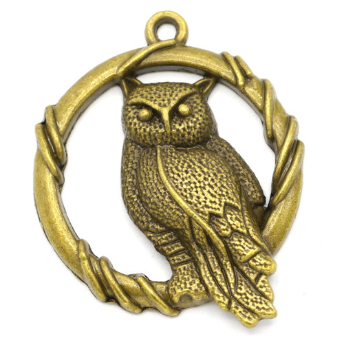 47mm 3D Owl Pendant, Antique Bronze