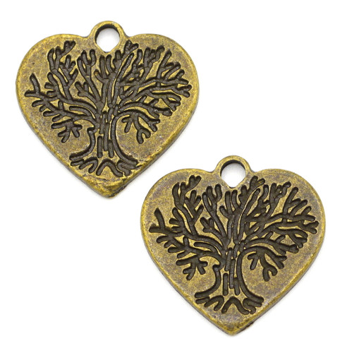 2pc 23mm Tree-Engraved Heart Pendants, Antique Bronze