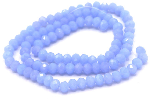 98pc 6x4mm  Crystal Rondelle Beads, Cornflower Blue