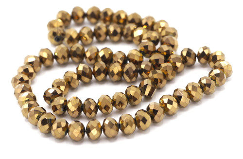 70pc 8x6mm Crystal Rondelle Beads, Metallic Copper