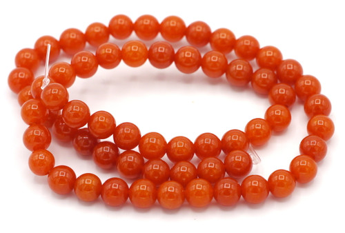 "15"" Strand 6mm Dyed Quartz Round Beads, Autumn Orange"