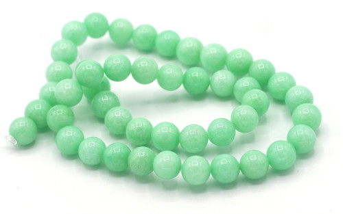 "15"" Strand 8mm Dyed Quartz Round Beads, Mint"