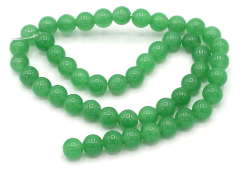 "15"" Strand 8mm Dyed Quartz Round Beads, Medium Green"