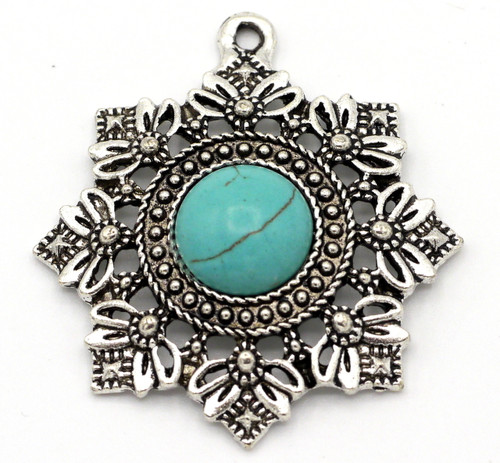 36mm Fancy 8-Point Pendant w/Faux Turquoise, Antique Silver