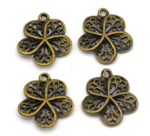 4pc 16mm Filigree Flower Drops, Antique Bronze