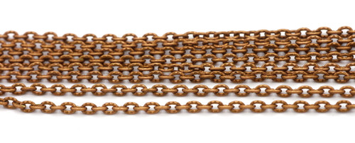 5 Feet of 3x2mm Textured Cable Jewelry Chain, Copper Finish