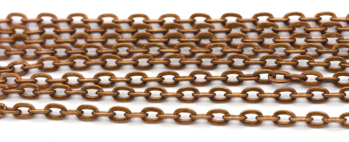 5 Feet of 6x4mm Cable Jewelry Chain, Copper Finish