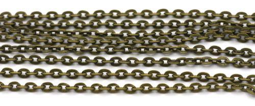 5 Feet of 4x2.7mm Cable Jewelry Chain, Bronze Finish