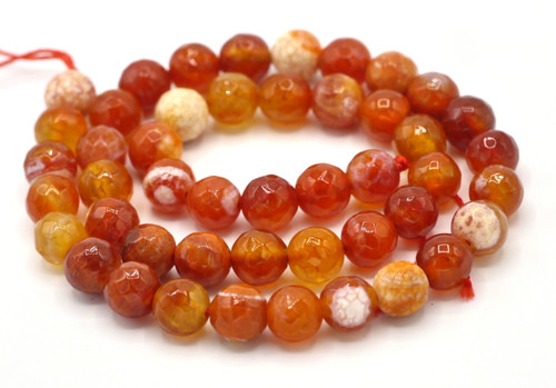 "15"" Strand 8mm Faceted Round Crackle Agate Beads, Red-Orange"