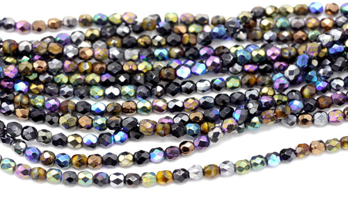 100pc 5mm Czech Fire Polished Round Beads, Shadow Effects Mix