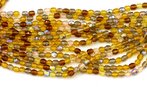 100pc 4mm Czech Fire Polished Round Beads, Topaz Mix
