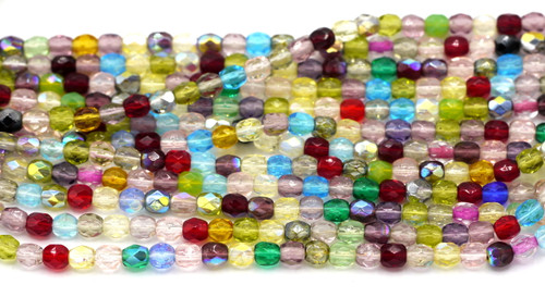 100pc 4mm Czech Fire Polished Round Beads, Colorful Mix