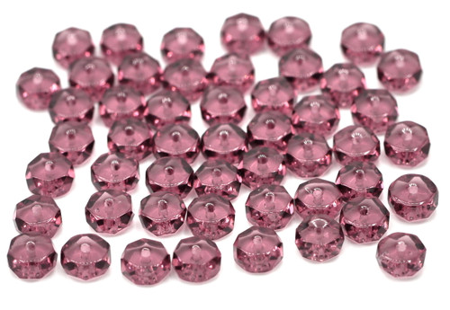 50pc 6mm Czech Fire Polished Glass Faceted Disc Beads, Amethyst