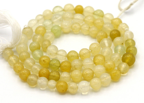 """14"""" Strand Approx 5mm Yellow-Green Agate Hand-Cut Round Beads"""