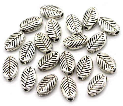 20pc 9mm Leaf Spacer Beads, Antique Silver