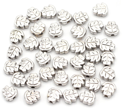 40pc 7mm Leaf Spacer Beads, Antique Silver