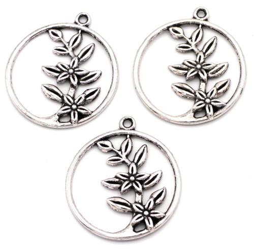 3pc 33x29mm Floral Branch Pendant, Antique Silver