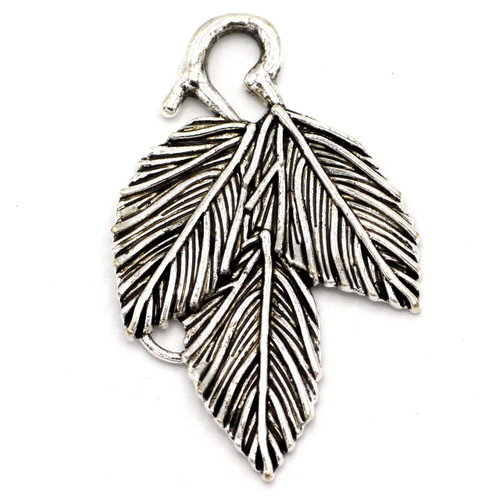 39mm Triple Leaf Pendant, Antique Silver