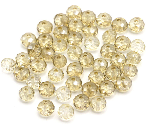 48pc 6x4mm Crystal Rondelle Beads, Sunlight Shimmer