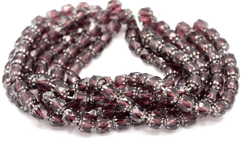 25pc 6mm Faceted Czech Cathedral Glass Beads, Amethyst & Silver
