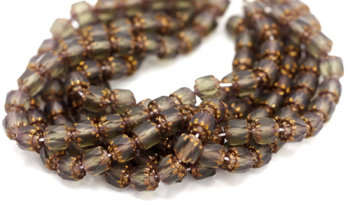 25pc 6mm Faceted Czech Cathedral Glass Beads, Matte Grey & Copper
