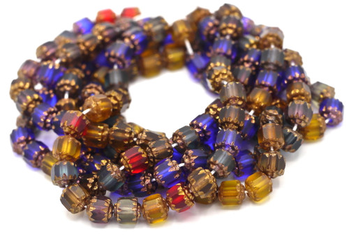 25pc 6mm Faceted Czech Cathedral Glass Beads, Jewel Tone Mix