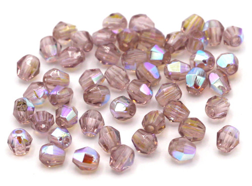 50pc 4mm Czech Fire Polished Bicone Beads, Light Amethyst AB