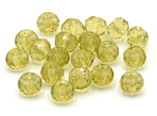 20pc 8x6mm Faceted Glass Rondelle Beads, Light Topaz