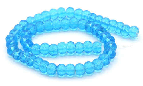 "11"" Strand 8x6mm Faceted Glass Rondelle Beads, Aqua"