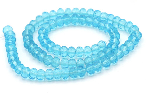 "11"" Strand 6x4mm Faceted Glass Rondelle Beads, Aqua"