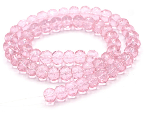 "11"" Strand 8x6mm Faceted Glass Rondelle Beads, Light Rose"