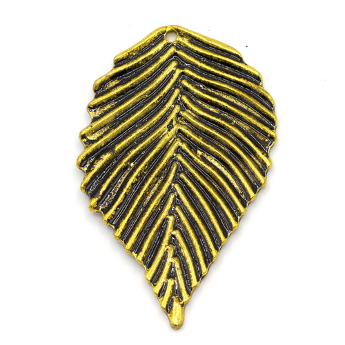 50mm Leaf Pendant, Antique Goldtone