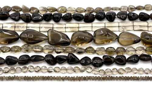 "GRAB BAG SPECIAL-- 14"" Strand Smokey Quartz Gemstone Beads, Random Pick"